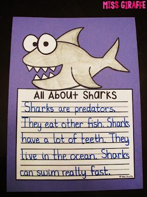 Sharks writing craft that kids just write color cut and glue for an easy no prep craft