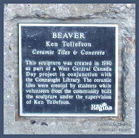 Information plaque for statue, built in 1980