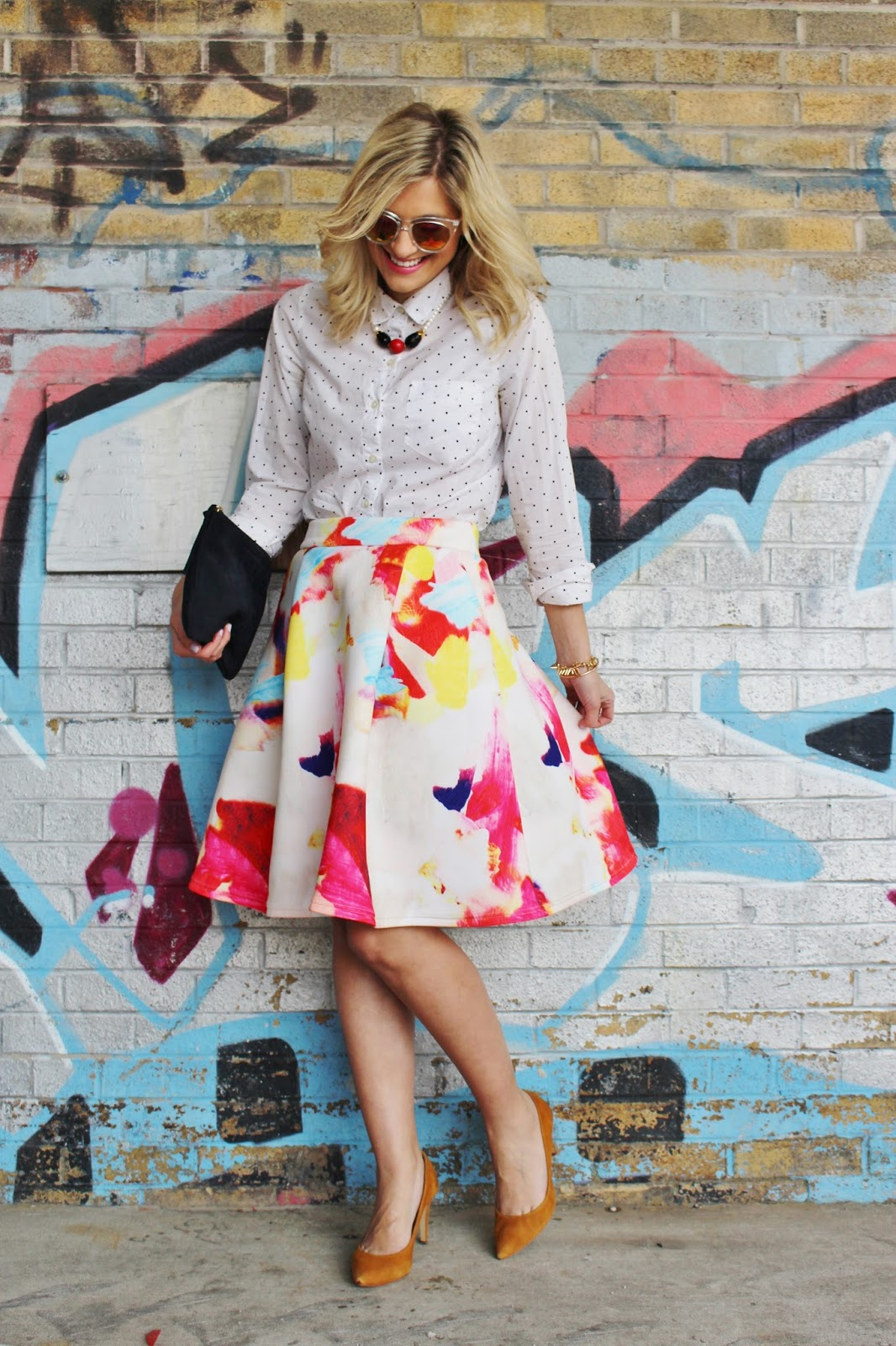 bijuleni - polka dot shirt and colourful skirt