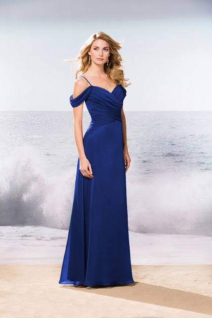 Dresses your bridesmaids will love and can wear again after the wedding - wedding dress ideas - blue long v-neck belsoie tiffany chiffon bridesmaid dress - wedding ideas blog - K'Mich Weddings Philadelphia - jasminbridal.com