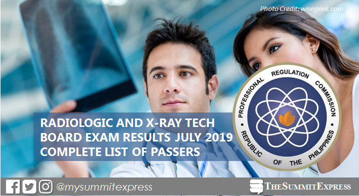 FULL RESULTS: July 2019 Radtech, X-Ray Technologist board exam list of passers, top 10