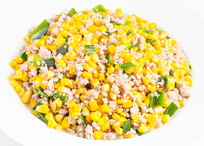 Chinese food - Corn seeds fried with minced pork