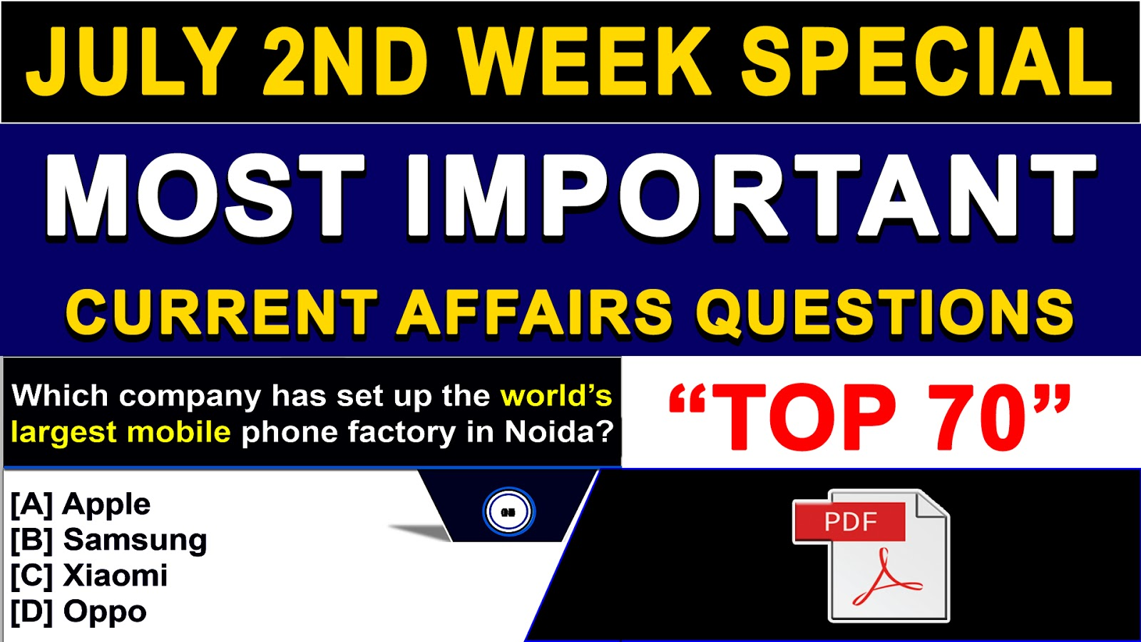July 2nd Week Current Affairs | GK 2018 | PDF