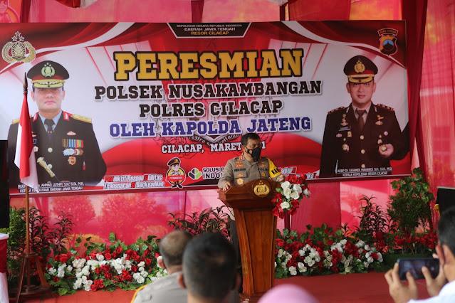 Resmikan Polsek Nusakambangan Cilacap, Kapolda Jateng: Polsek Nusakambangan Sesuai Kakerda