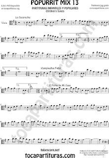 Partitura de Viola Popurri Mix 13 La Cucaracha, Cumpleaños Feliz, El Patio de Mi Casa Sheet Music for Viola Music