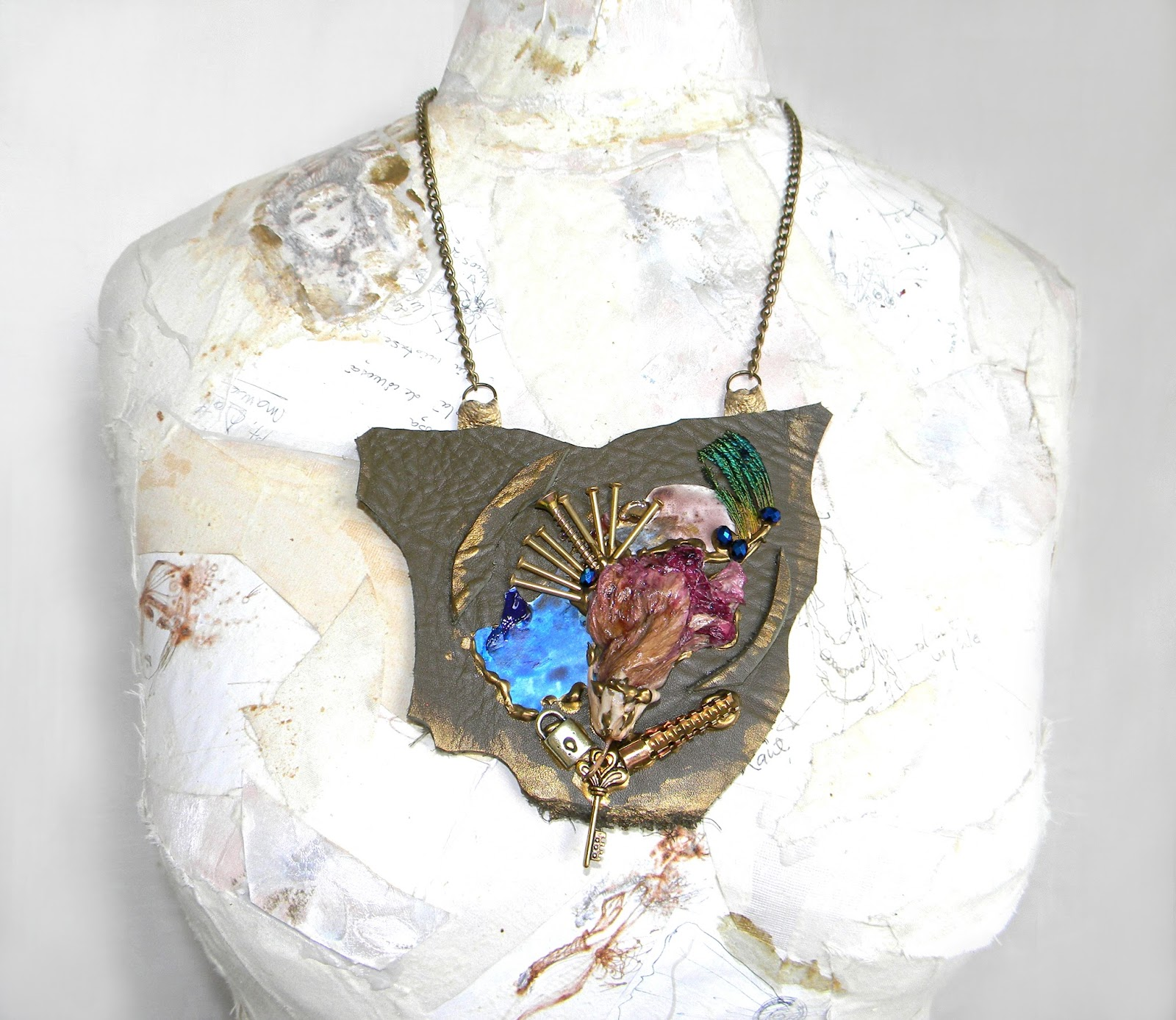 Statement Steampunk Necklace Bib Fashion Collage Leather Jewelry Upcycled Jewelry with Organic Flower
