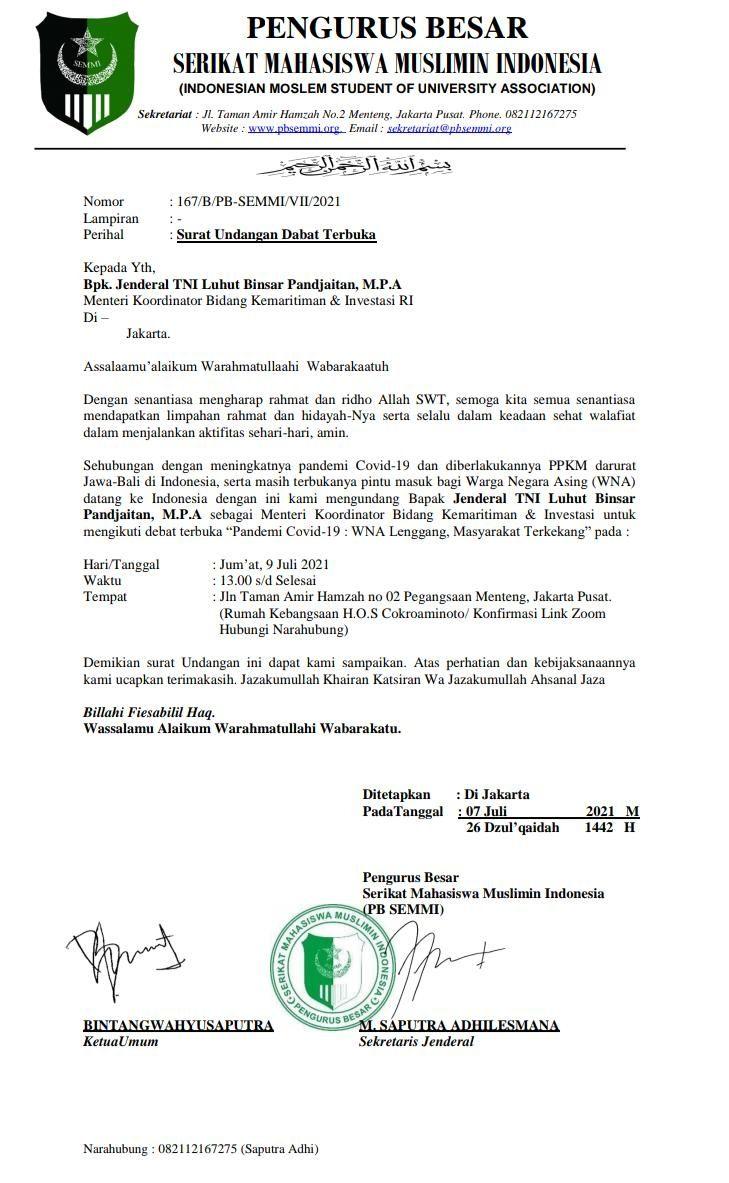 Surat Undangan Debat Terbuka soal WNA oleh Mahasiswa PB SEMMI Sudah Tersebar, Tapi Luhut Ogah Ladeni