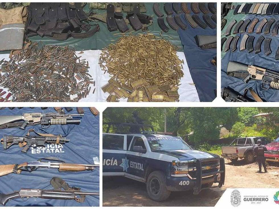 Ejercito y la policía madrugan a sicarios en Guerrero, decomisan lanza granadas, cartuchos, armas de las fuerzas armadas y autos robados