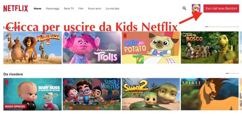 come uscire da netflix kids tramite pc browser