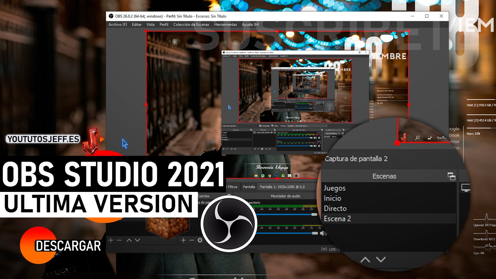 Como Descargar OBS Studio Ultima Version 2021 FULL ESPAÑOL