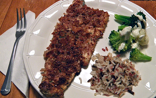Plated Pecan Crusted Trout with Wild Rice and Broccoli