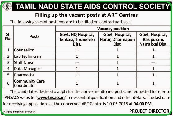 Tamil Nadu State Aids Control Society (TANSACS) Recruitments (www.tngovernmentjobs.in)