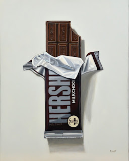 hershey's chocolate candy bar photorealism trompe loeil painting by kim testone