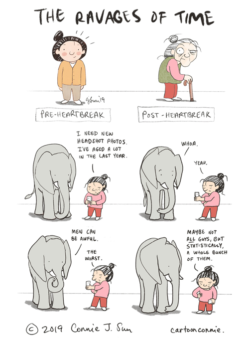 humor, cartoon, connie sun, illustration, elephant, heartbreak, comic strip, comics