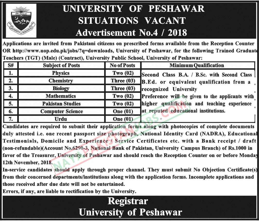 Latest Vacancies Announced in University Of Peshawar 28 October 2018 - Naya Pakistan