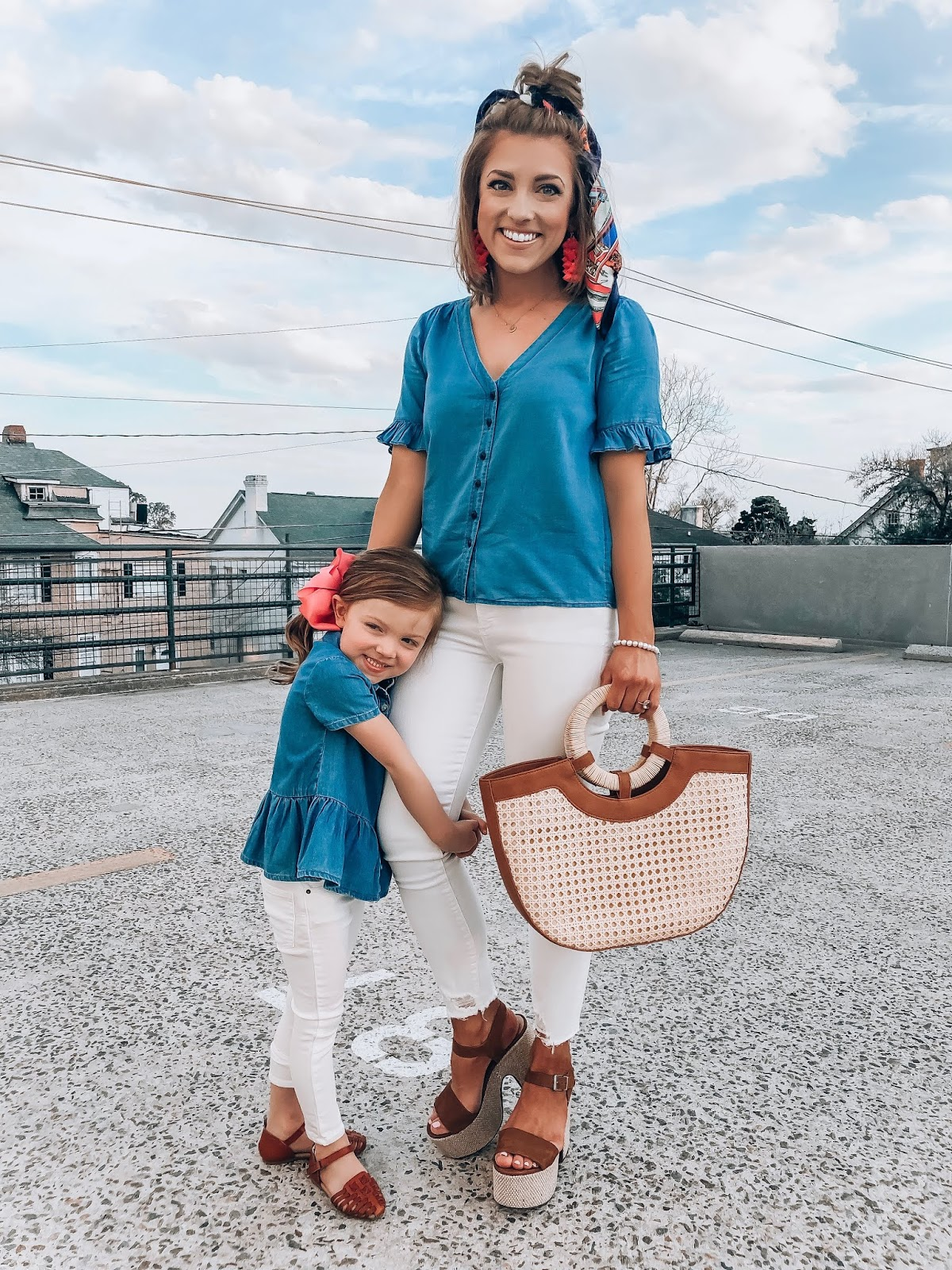 Mommy and Me in Chambray Tops, White Jeans, Cognac Shoes and Pink Accessories - Something Delightful Blog #springstyle
