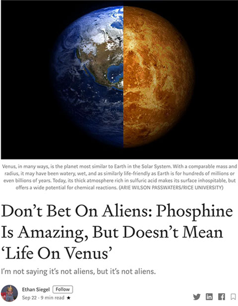 Phosphine discovery on Venus (Source: Ethan Siegel)
