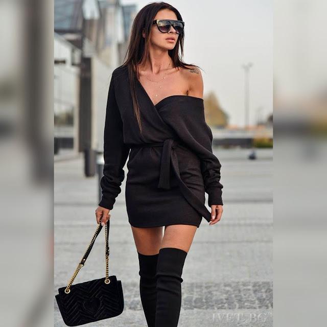 Μοντέρνο κοντό μαύρο φόρεμα SINALIA BLACK