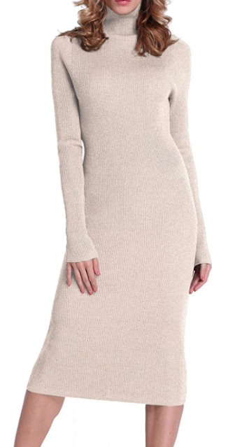 Turtleneck Ribbed Midi Dress