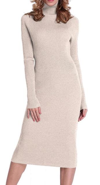 Turtleneck Ribbed Midi Dress