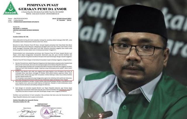 Tuntut Permintaan Maaf Dubes Saudi, GP Ansor Tegaskan Bendera Yang Dibakar Adalah Bendera HTI