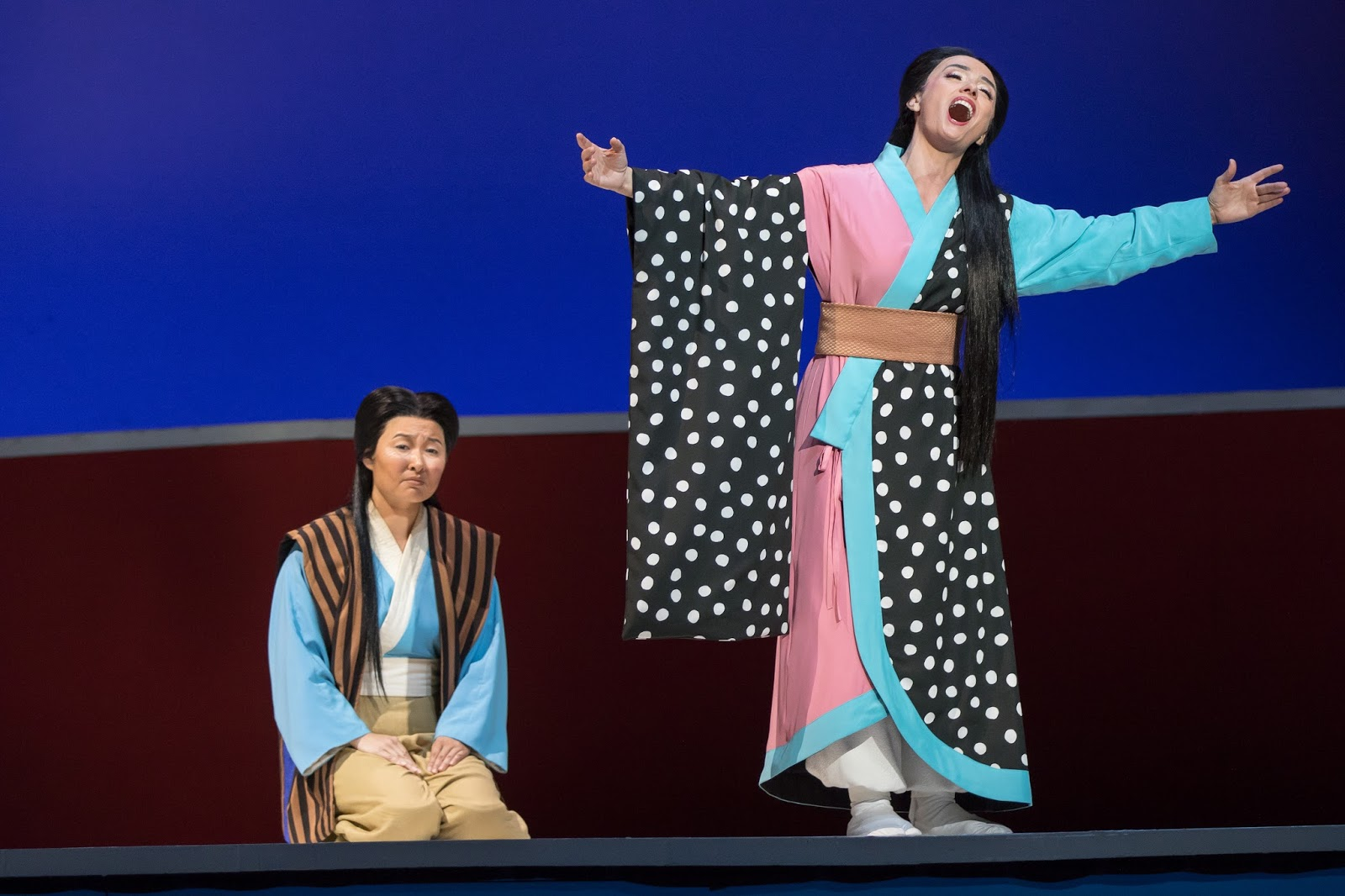 IN REVIEW: Mezzo-soprano KRISTEN CHOI as Suzuki (left) and soprano ERMONELA JAHO as Cio-Cio-San (right) in Washington National Opera's production of Giacomo Puccini's MADAMA BUTTERFLY, May 2017 [Photo by Scott Suchman, © by Washington National Opera]
