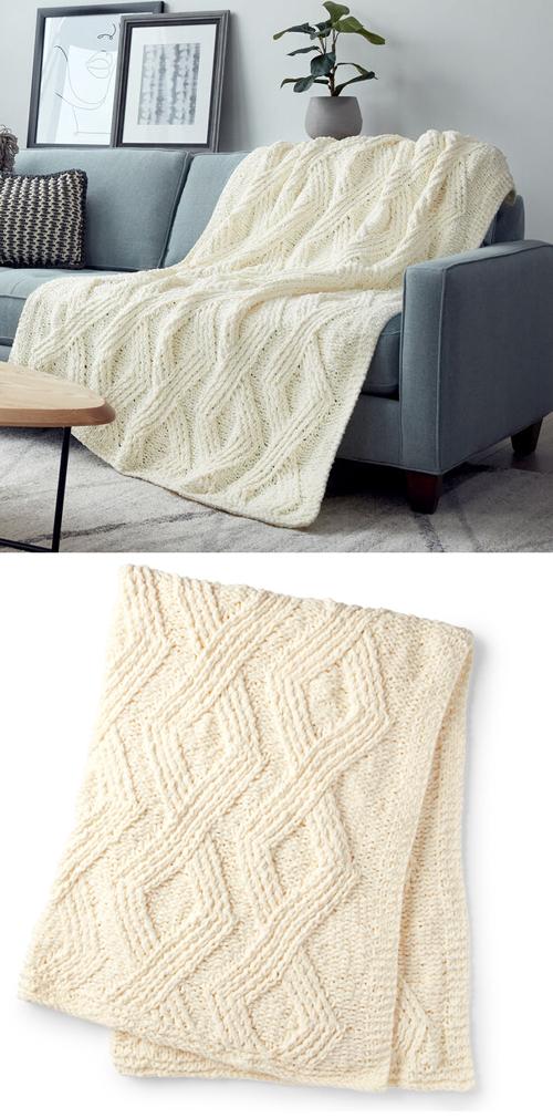 Twisted Stitch Knit Blanket - Free Knitting Pattern