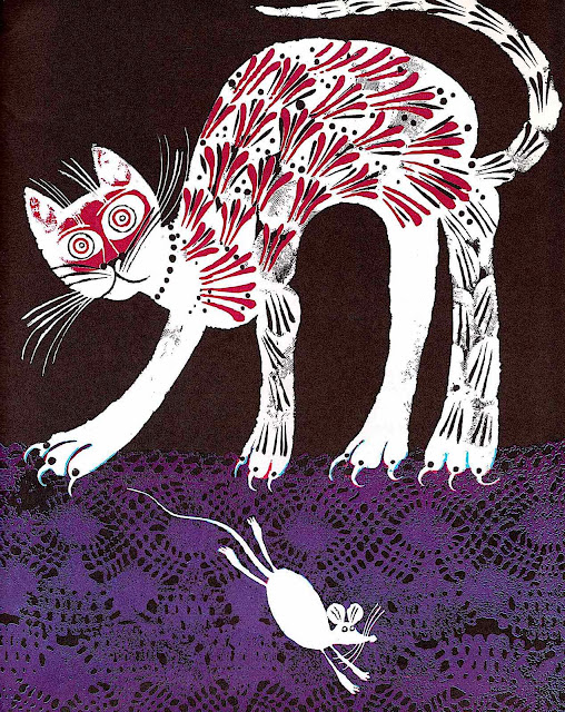 a Carlos Marchiori 1969 illustration of a cat and mouse