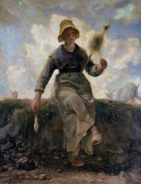 Жан Франсуа Милле - Прядильщик, пастух Оверни. 1869