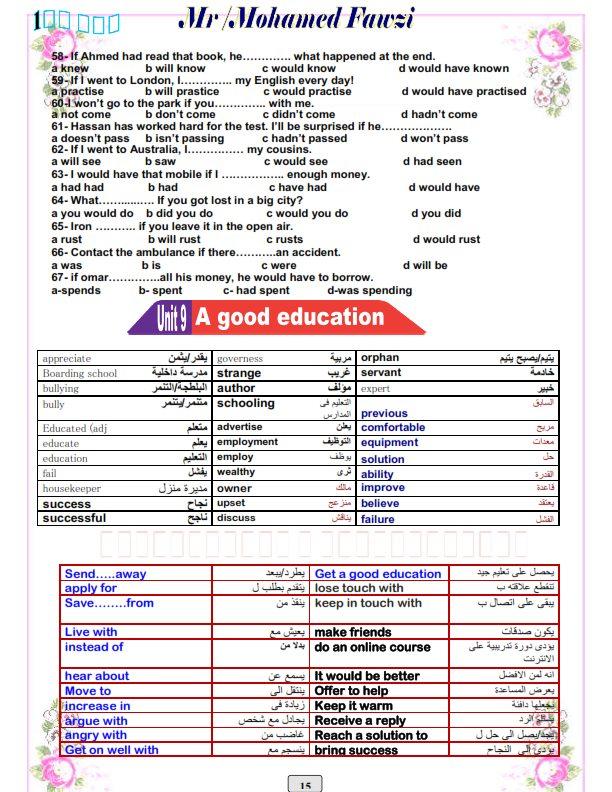 مراجعة انجليزي رائعة للصف الاول الثانوى ترم ثاني 15