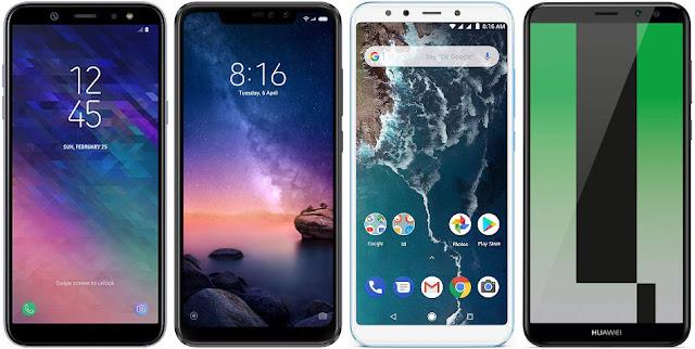 Samsung Galaxy A6+ vs Xiaomi Redmi Note 6 Pro 64G vs Xiaomi Mi A2 64G vs Huawei Mate 10 Lite
