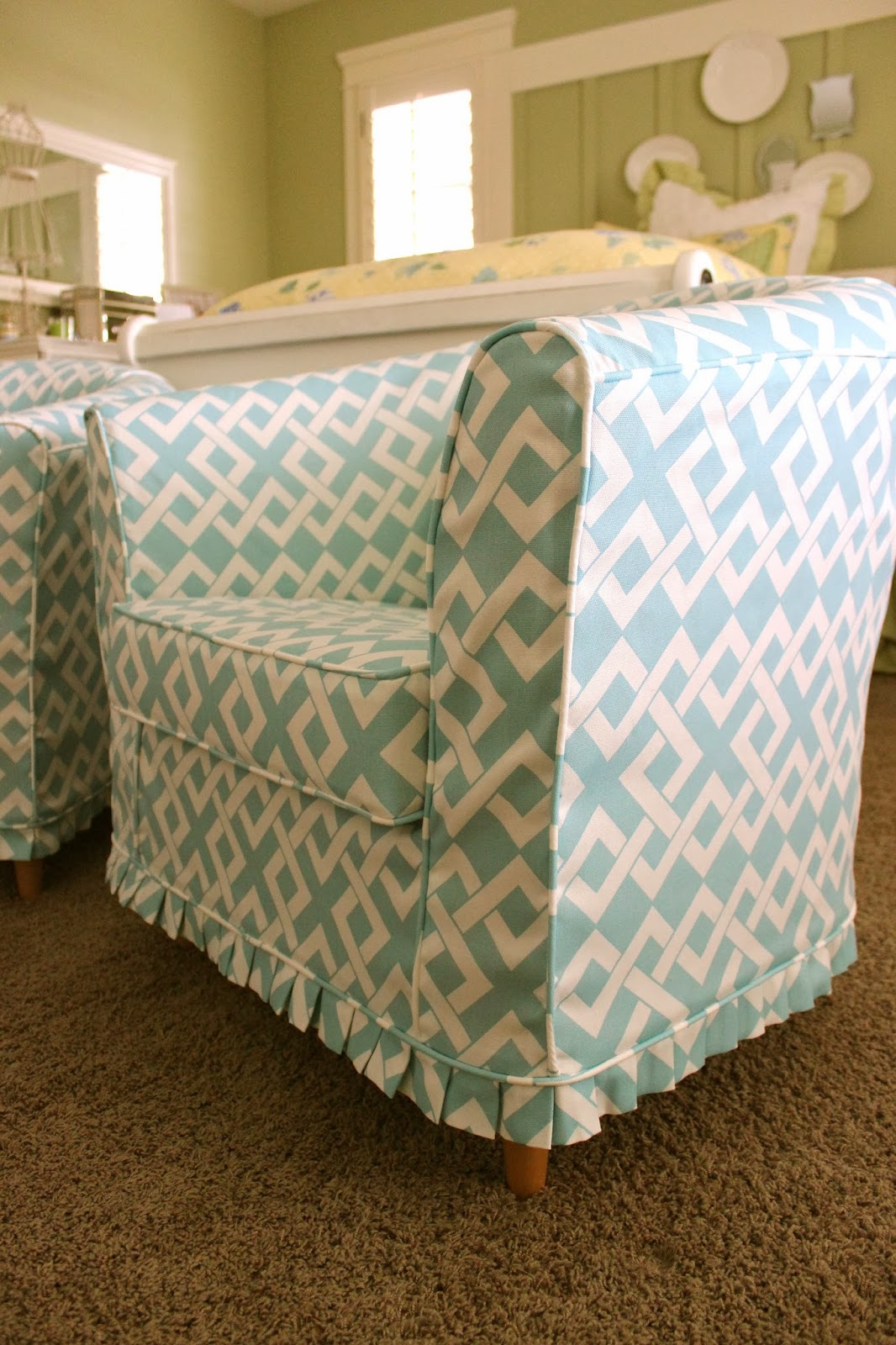 slipcovers for barrel chairs wheelchair zipline custom by shelley pair of