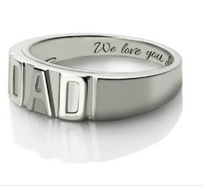 Personalized Men's DAD Ring Platinum Plated Silver (Price: $ 71.65)