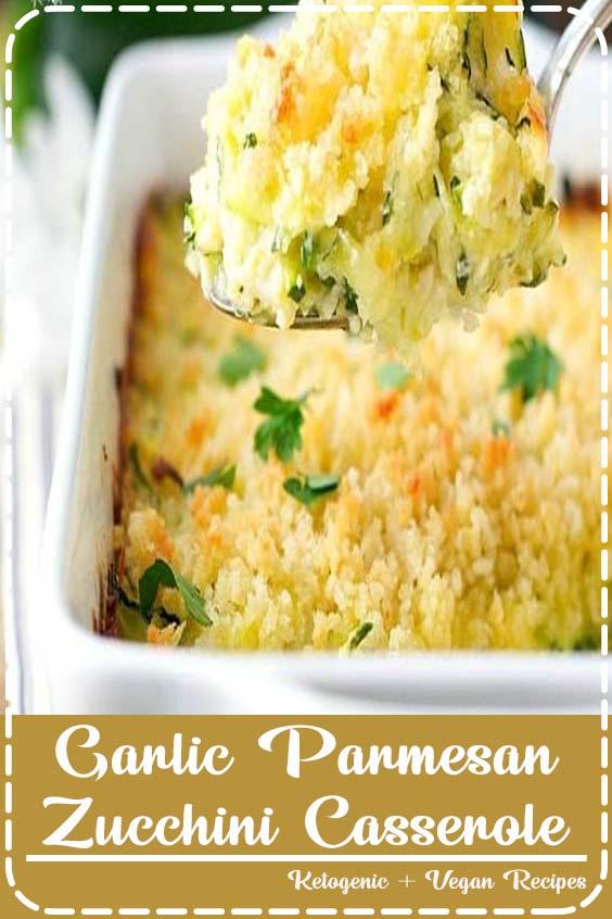 Garlic Parmesan Zucchini Casserole is an easy side dish recipe Garlic Parmesan Zucchini Casserole