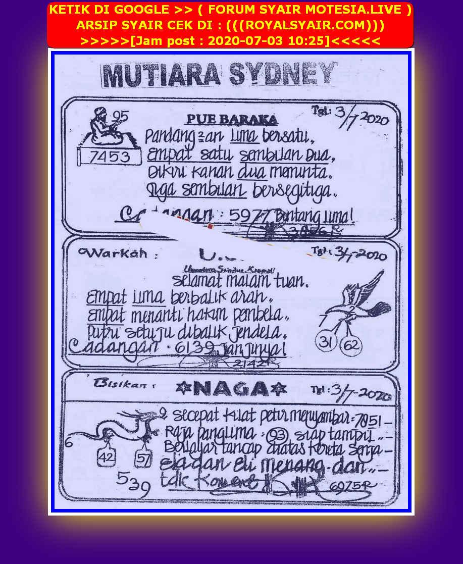 Kode syair Sydney Jumat 3 Juli 2020 40