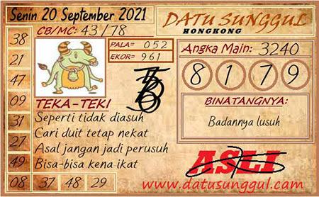 Prediksi Datu Sunggul HK Senin 20 September 2021