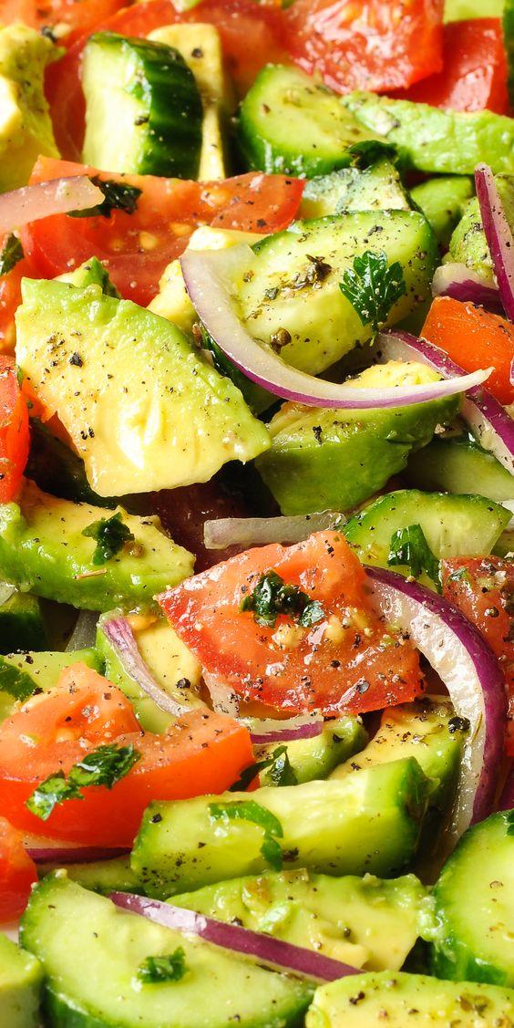 Cucumber Tomato Salad with Avocado