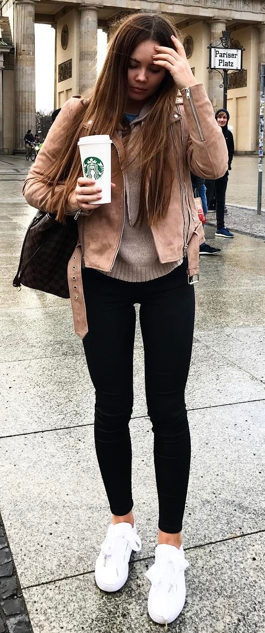 casual outfit inspiration : biker jacket + bag + sweater + black skinnies + sneakers