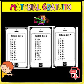 Tablas de multiplicar del 2 al 9