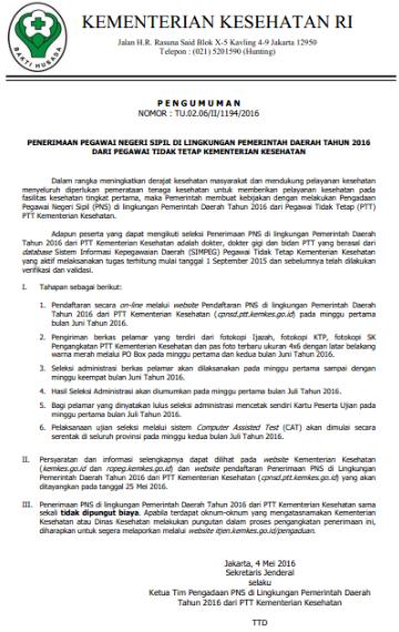 Pendaftaran CPNS Bidan PTT Pemda Kemenkes 2016