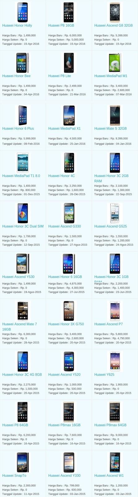 Daftar Harga Hp Terbaru Huawei Mei 2016
