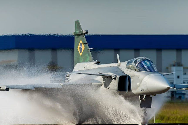 Saab Gripen water spray Brazil