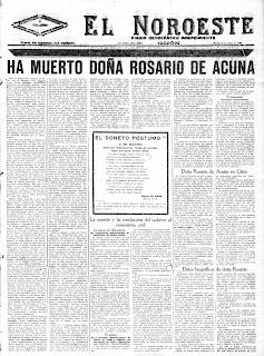 Primera página de El Noroeste  del martes 9 de mayo de 1923