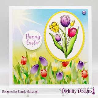 Divinity Designs Stamp Set: Glorious Easter Custom Dies:  Scalloped Ovals, Ovals, Pierced Circles  Paper Collection: Spring Flowers 2019
