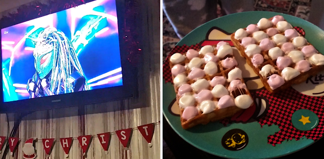 The masked singer on TV and a sugary treat of waffles and marshmallows