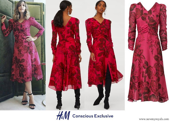 Crown Princess Mette-Marit in H&M Conscious Exclusive Patterned Silk Mid Dress