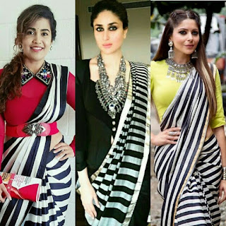 Rashi Khanna in stripe saree, rashi Khanna in black and white saree, rashi Khanna in monochrome saree, Kanika Kapoor in monochrome saree, Kareena Kapoor monochrome saree