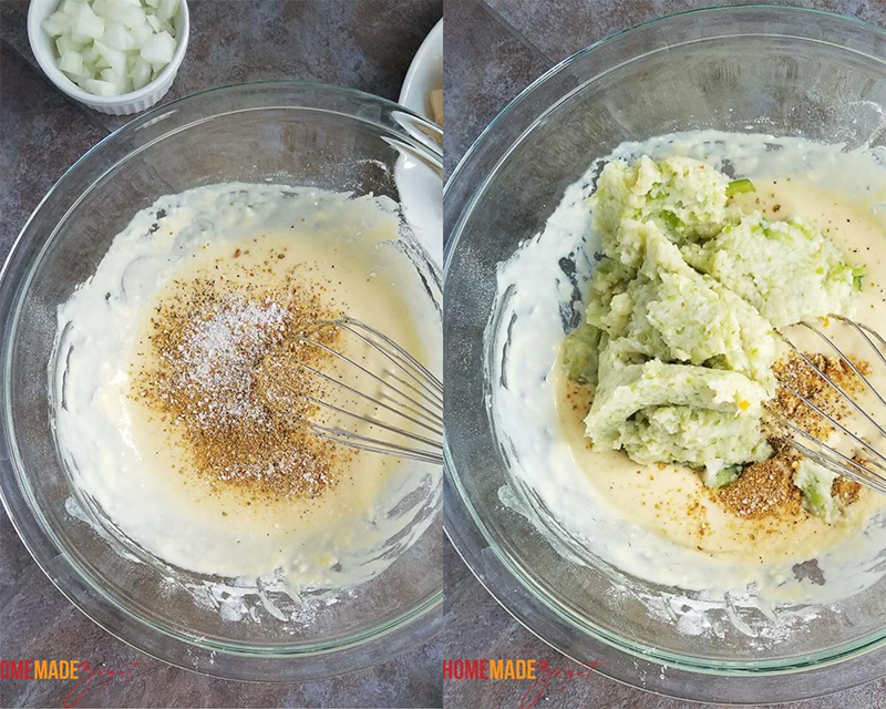 Flour mixture with spices then added minced conch to batter