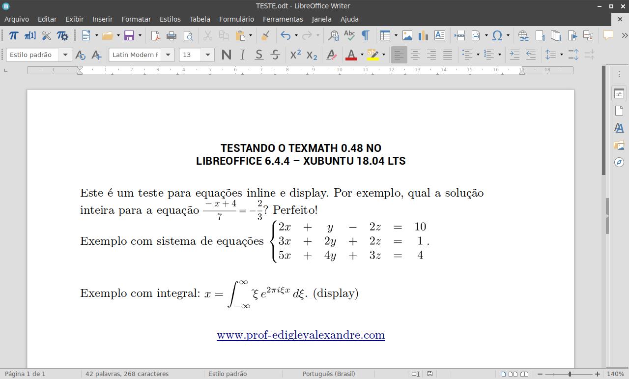 Como escrever em Latex no LibreOffice 6.4.4 usando o TexMath 0.48 no Ubuntu e seus derivados