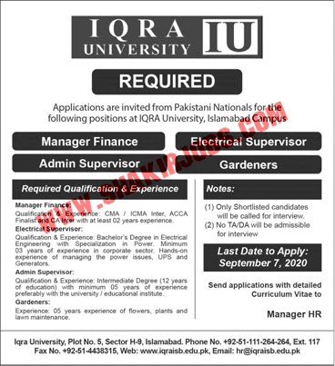 Jobs in Iqra University Jobs September 2020